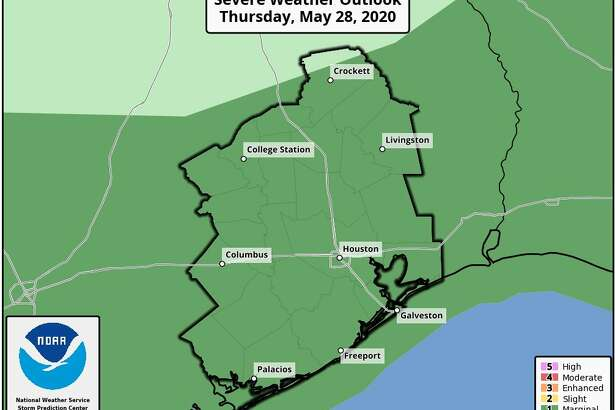 Rain showers and thunderstorms are predicted in Houston on Thursday, May 28, 2020.