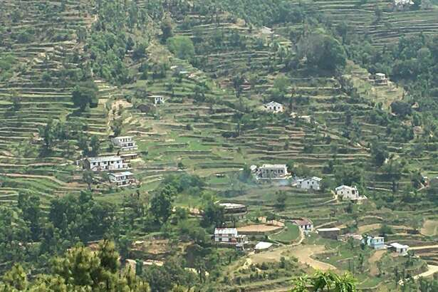 A view of terraced farms in Uttarakhand