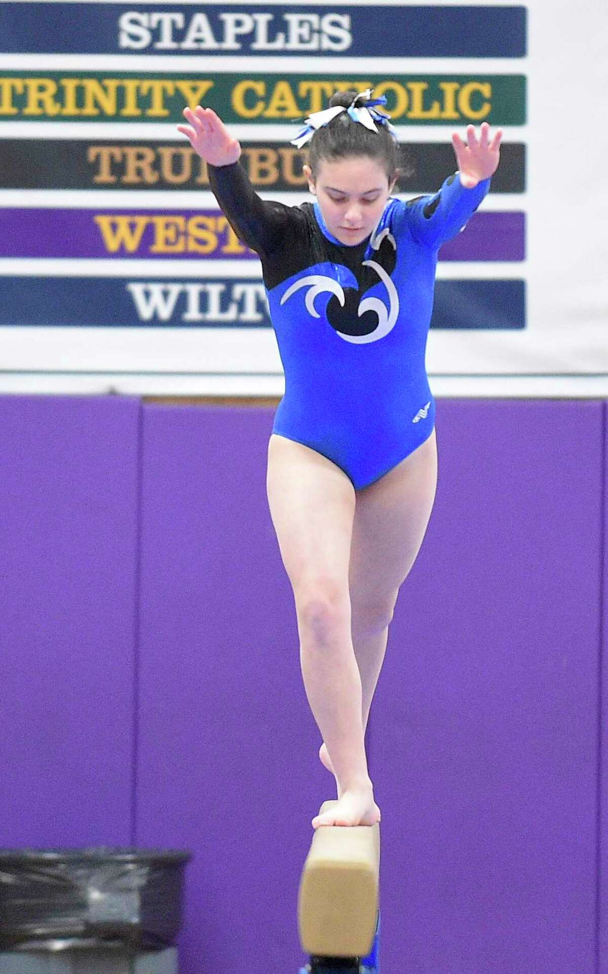 Competitors compete in the Ro Carlucci FCIAC Championships for gymnastics at Westhill High School on Feb. 15, 2020 in Stamford, Connecticut. Fairfield Ludlowe won the FCIAC gymnastics championship and the Falcons' Mancini taking top individual honors in All Around.