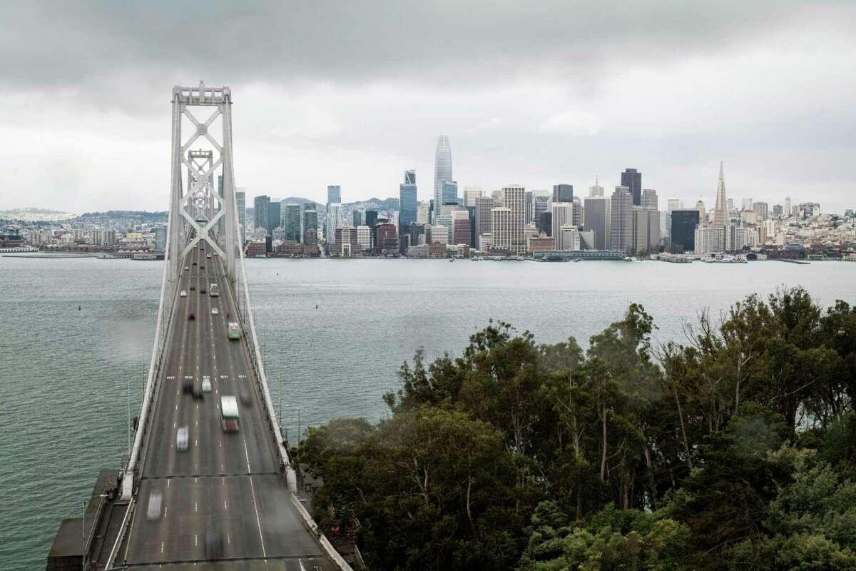 Traffic on the San Francisco - Oakland Bay Bridge in San Francisco, California on May 18, 2020.
