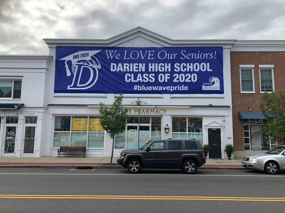The senior send off committee recently placed this sign downtown to celebrate Darien High's Class of 2020. Photo: Contributed