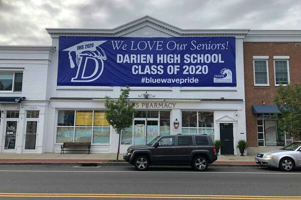 The senior send off committee recently placed this sign downtown to celebrate Darien High's Class of 2020.