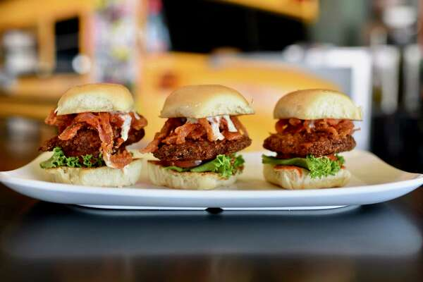 The new Yarbirds fried chicken sliders at Bernie's Burger Bus restaurants in Houston.