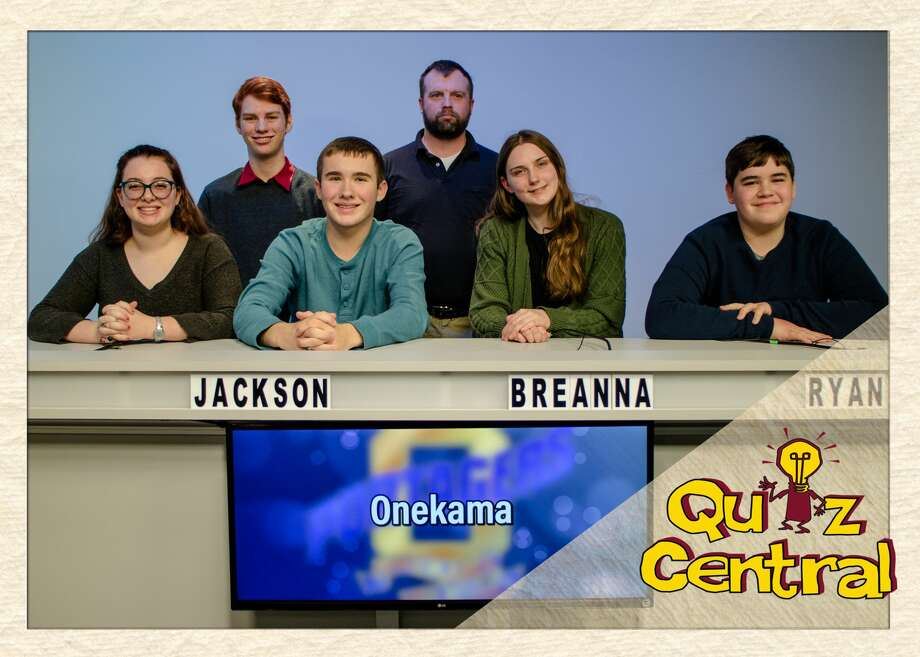 The Onekama High School Quiz Bowl team under the direction of coach Matt Lonn is in the Blue Division finals of the WCMU Quiz Central competition against Roscommon. The match will be shown on WCMU Channel 6 cable at 7:30 p.m. on Wednesday. Team members include Jackson Gutowski, Brenna Schneider, Alli Torrey, Ryan Petrosky and Kolin Cook. (Courtesy photo) Photo: Courtesy Photo