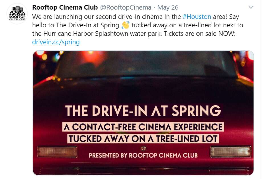"""Rooftop Cinema Club is launching a second drive-in cinema this Friday, May 29, in the Houston area calling it, """"The Drive-In at Spring."""" Photo: Screenshot Twitter"""