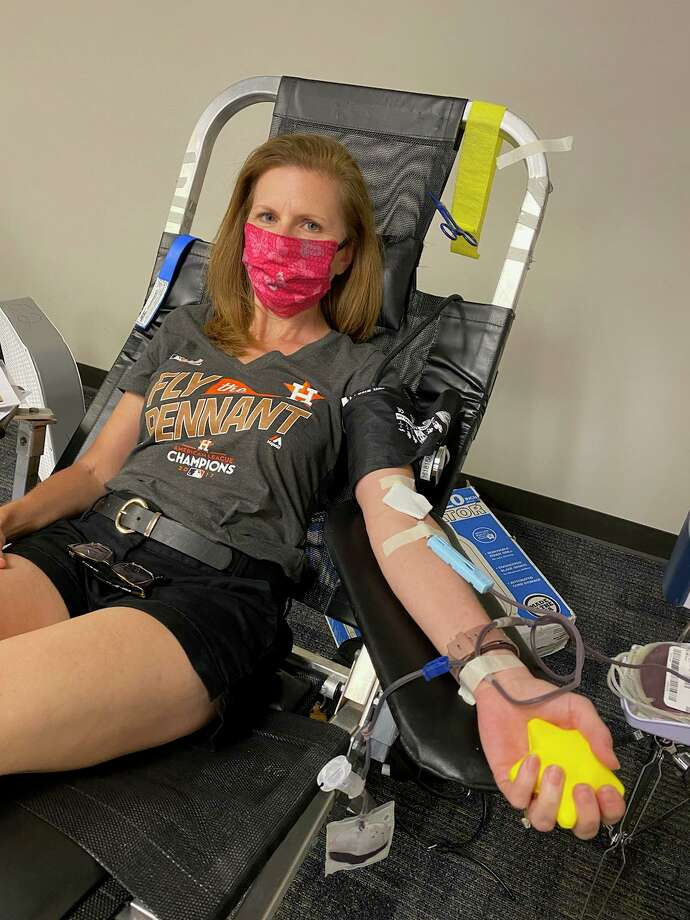 Tina Hovance, a curriculum specialist with Katy Independent School District in Texas, gives blood on Thursday, May 14, 2020, at the Leonard E. Merrell Center. She said she wanted to do her part to help others during the COVID-19 pandemic. Photo: Courtesy Photo
