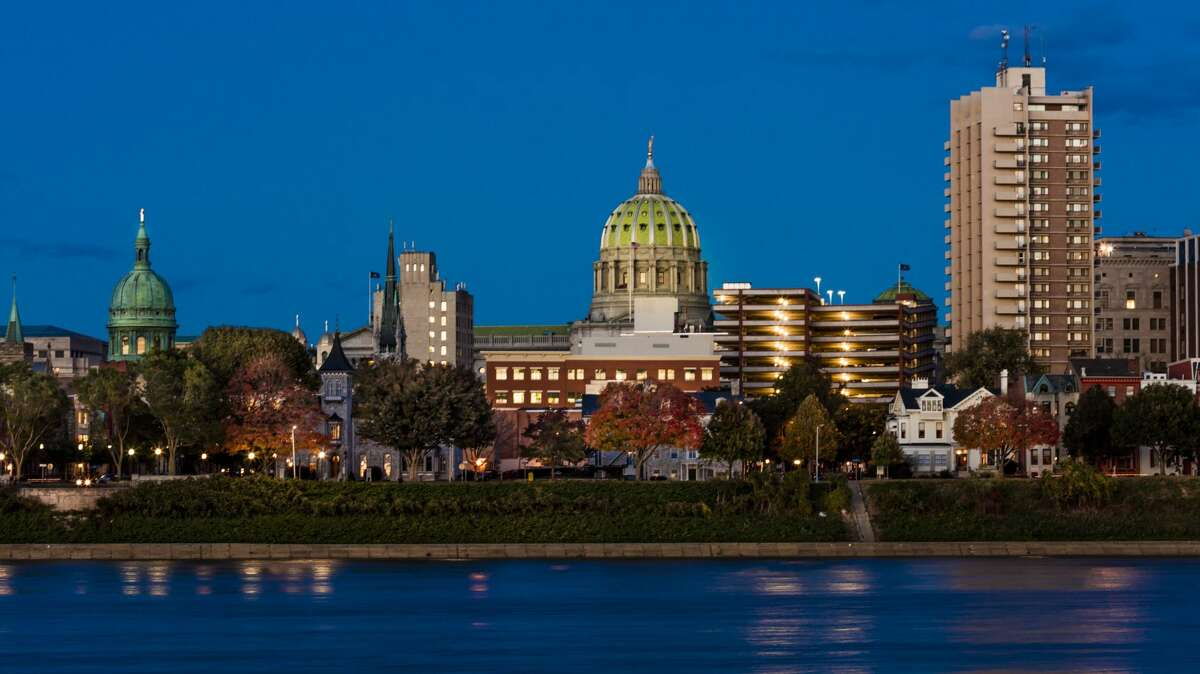 FILE: The city skyline and State Capitol shot at dusk from Susquehanna River in Harrisburg, Pennsylvania.