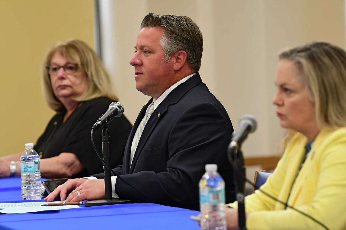 Albany County Executive Daniel McCoy, center, speaks during his daily coronavirus briefing on Thursday, May 28, 2020 in Albany, N.Y. Joining McCoy is Deb Riitano, Albany County Department for Aging commissioner, left, and County Department of Health Commissioner Dr. Elizabeth Whalen. (Lori Van Buren/Times Union)