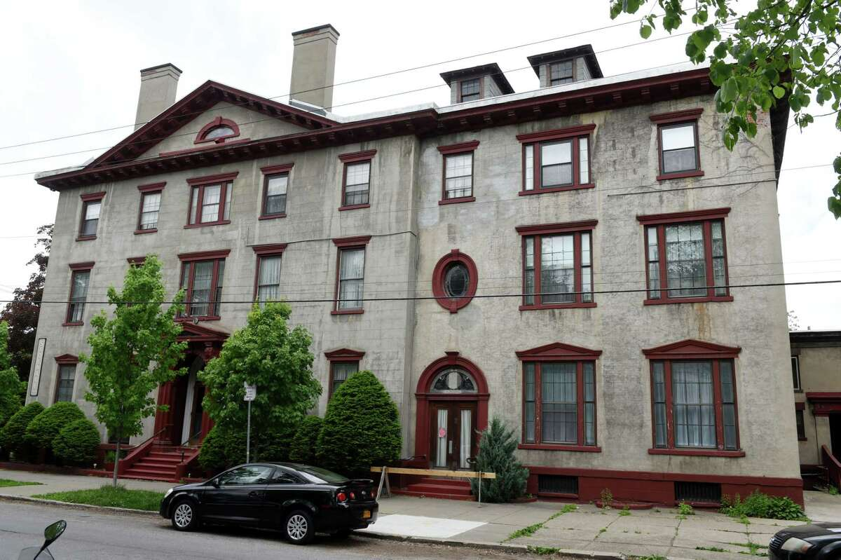 Exterior of the Stockade Inn on Thursday May, 28, 2020, on in Schenectady, N.Y. Redburn Development is negotiating to buy the now-shuttered Stockade Inn in Schenectady with a plan to turn the building boutique hotel and restaurant into apartments and offices. (Will Waldron/Times Union)