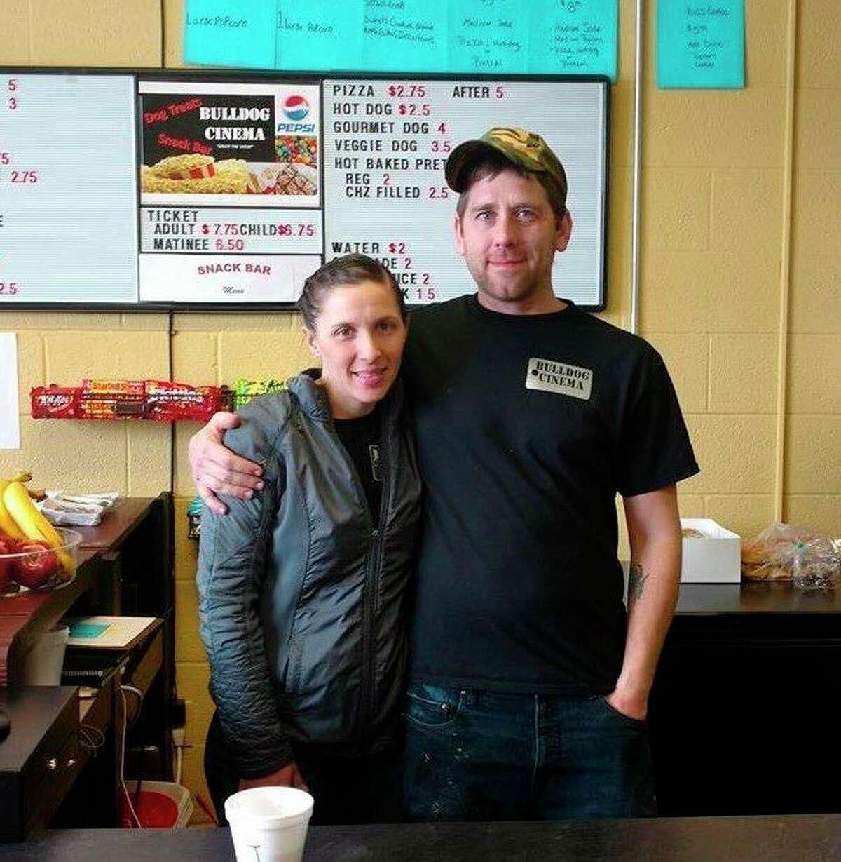 Bulldog Cinema co-owners Kylie Jo Szpiech and Jason Smith are excited to reopen the small movie theater to the public June 12. Smith said there will be a variety of extra safety precautions in place upon opening. (Courtesy photo)