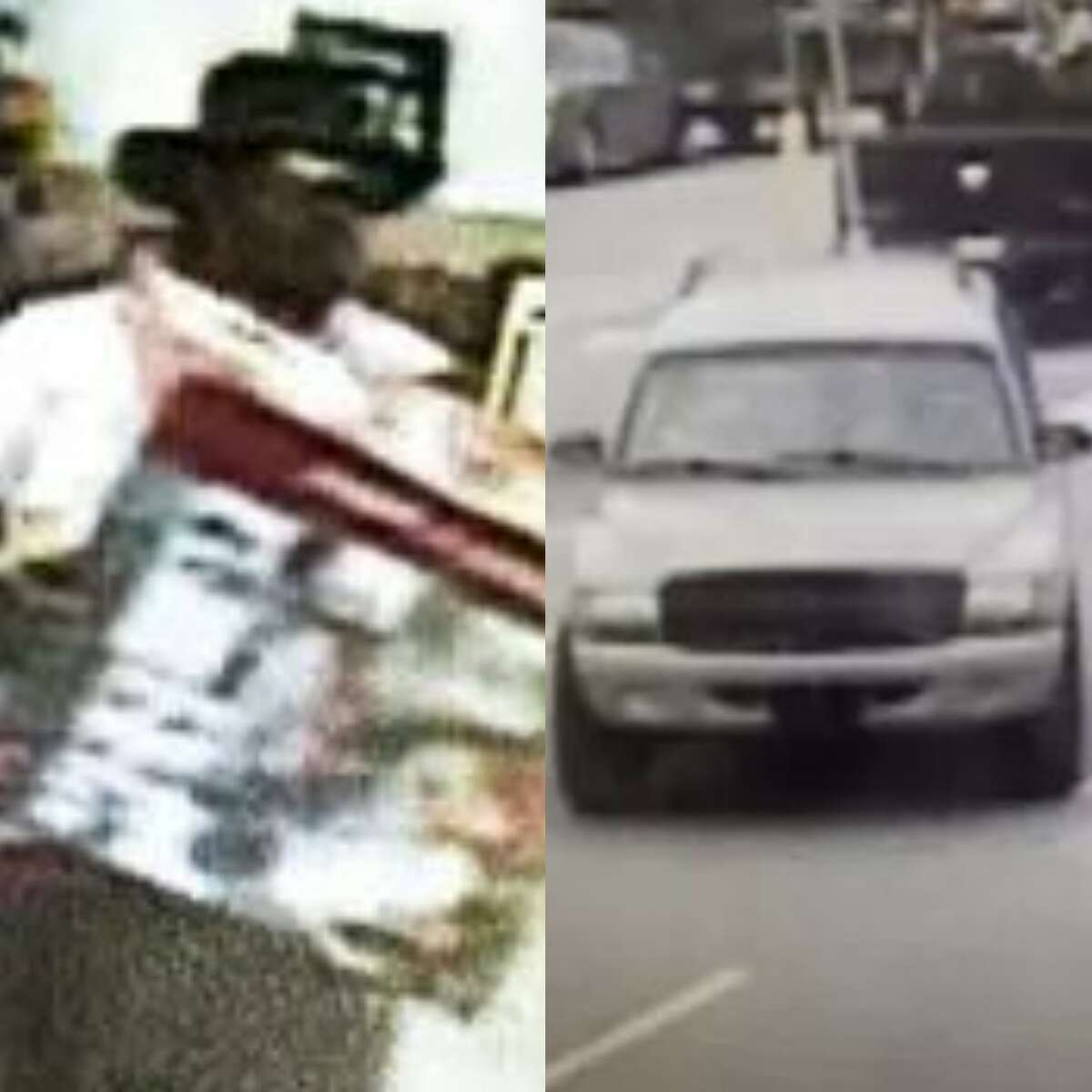 A man is seen on surveillance footage walking out of a Walmart with allegedly unpaid merchandise. He was seen leaving in the pictured vehicle.