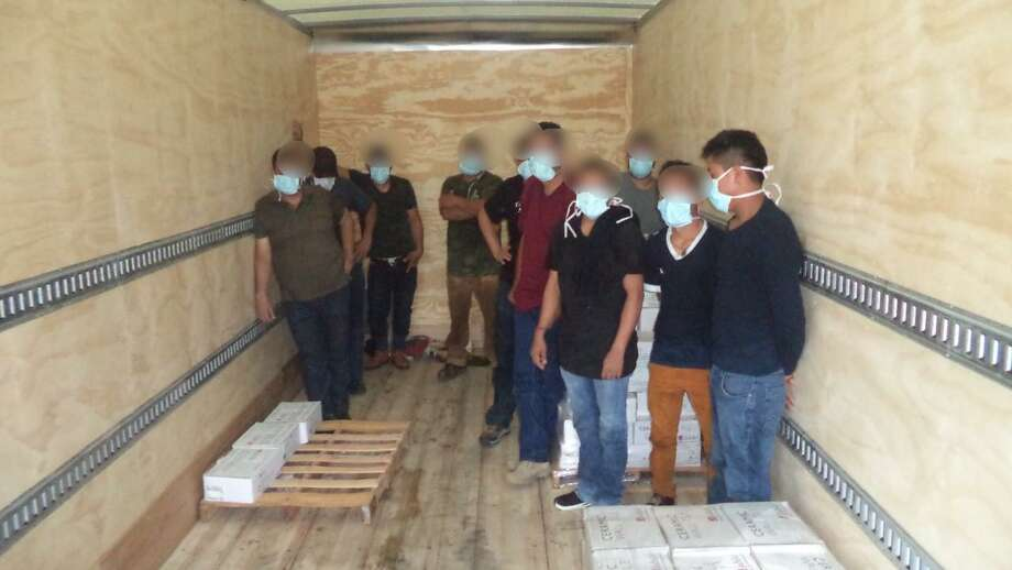 U.S. Border Patrol agents said they discovered these illegal immigrants inside a box truck. The individuals were hiding inside a compartment, authorities said. Photo: Courtesy Photo /U.S. Border Patrol