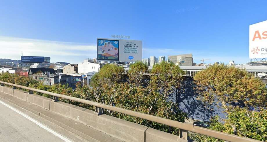 This billboard over Highway 101 in San Francisco hides a relic from the past. Photo: Google Street View