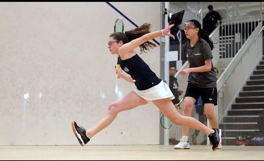 Caroline Fouts, left, was named a High School All-American by U.S. Squash, recently. Photo: Contributed Photo