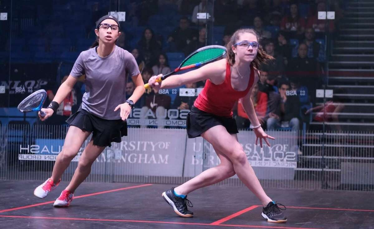 Caroline Fouts, left, was named a High School All-American by U.S. Squash, recently.