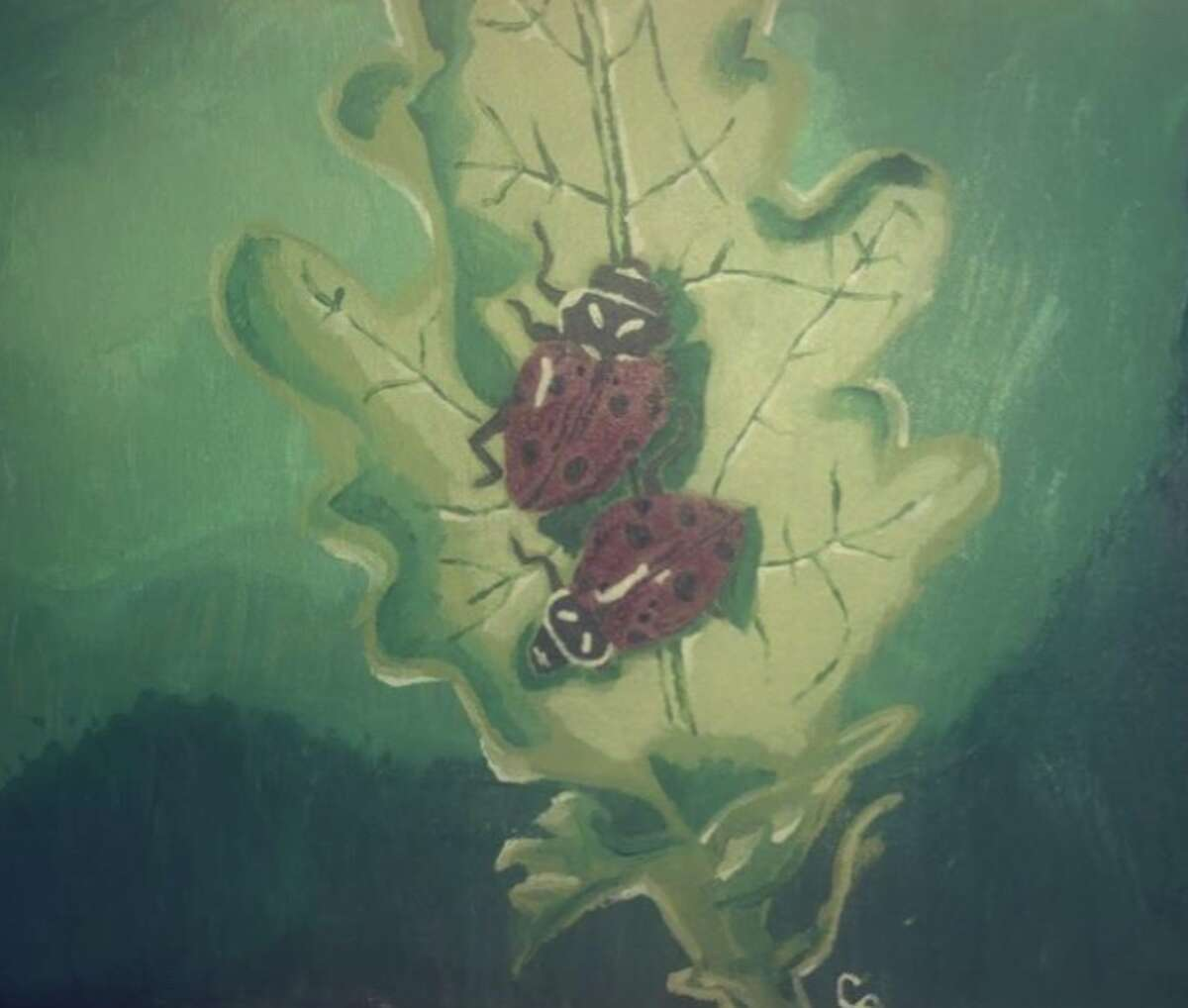 A painting by Caitlyn Efner responding to the theme of
