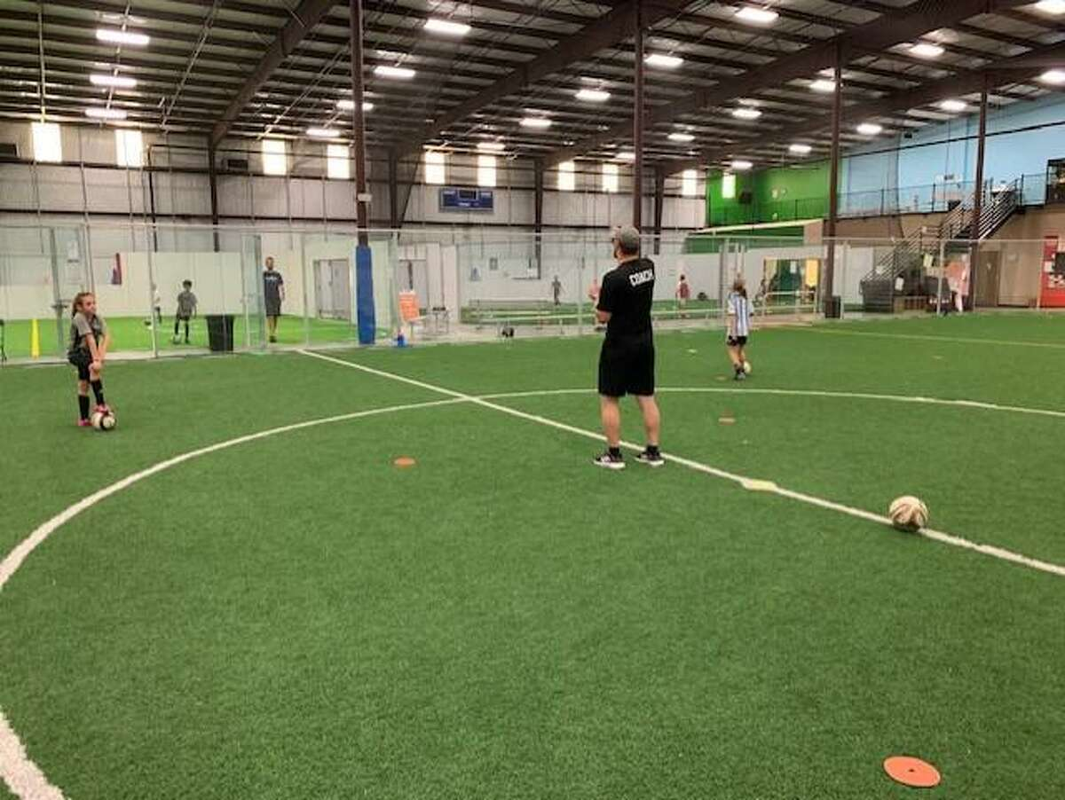 uScore Soccer organizes safe skills session where players are working on technical skills on their own grid amid the COVID-19 pandemic.