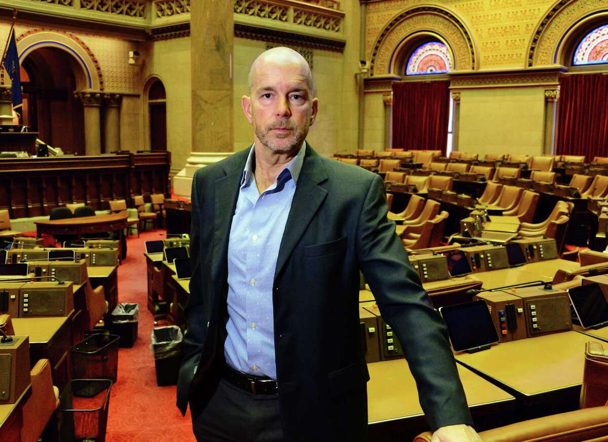 Times Union Senior Editor Brendan J. Lyons in the Assembly Chamber in Albany, NY. (John Carl D'Annibale/Times Union)