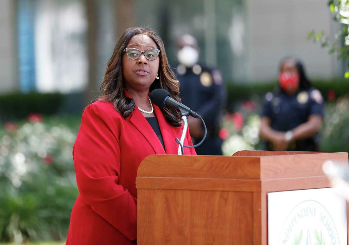 Houston ISD trustees are scheduled to vote Thursday on whether to name Interim Superintendent Grenita Lathan, pictured here in May, as the lone finalist for the permanent superintendent position. The district's search for a permanent superintendent has been virtually dormant since March 2019, when a state-appointed conservator halted the effort amid uncertainty over the possibility for sanctions against HISD.