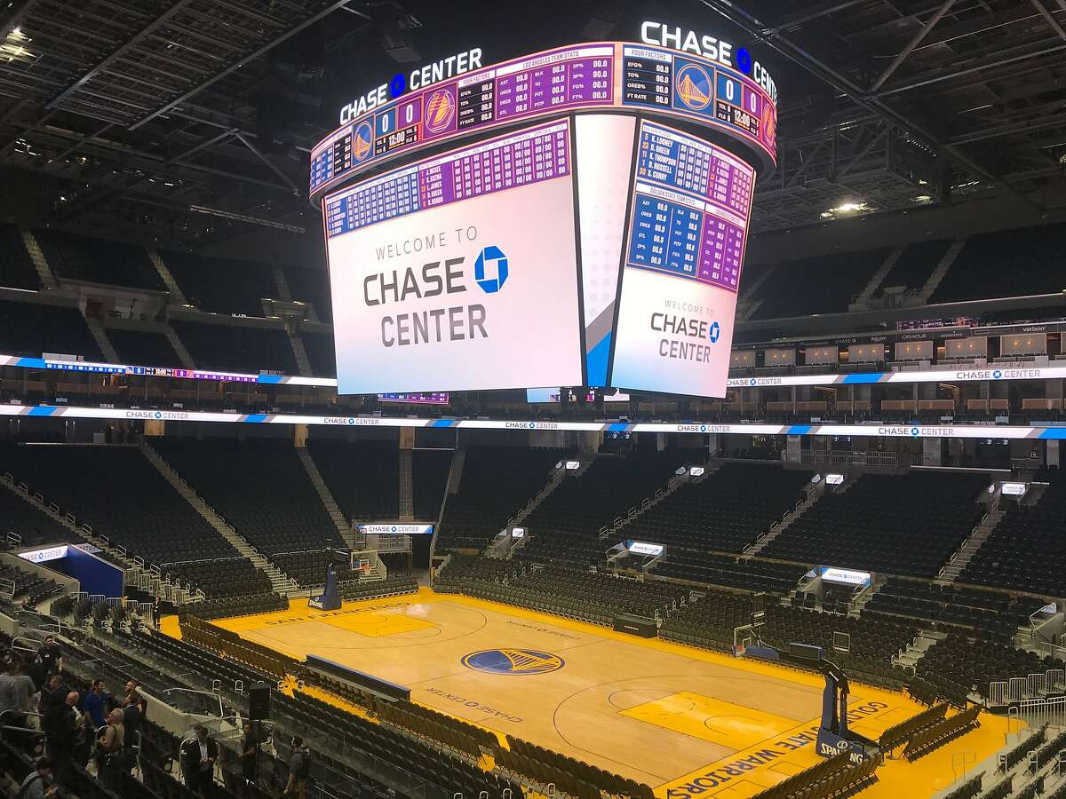 The Warriors� basketball court is seen inside the Chase Center on Monday, Aug. 26, 2019 in San Francisco, Calif.