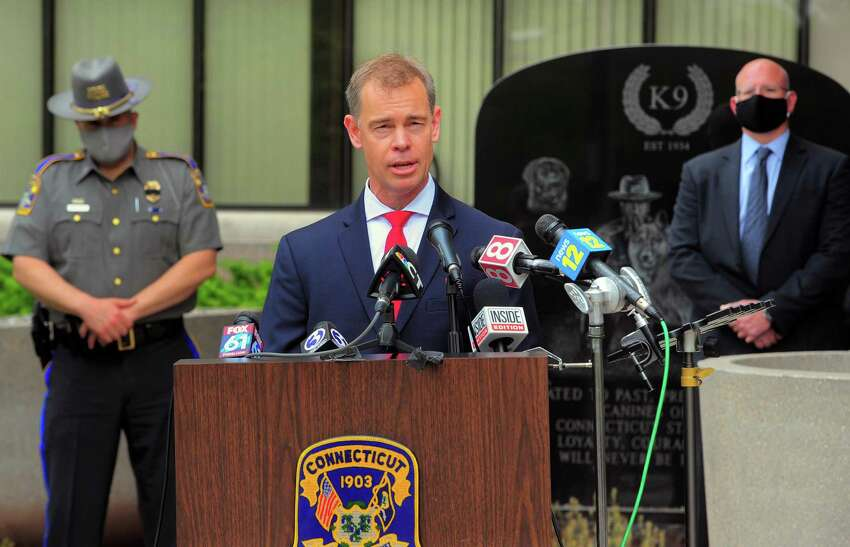 FBI Special Agent in Charge David Sundberg speaks to the media during a press conference on the arrest of suspect Peter Manfredonia at Connecticut State Police headquarters in Middletown, Conn., on Thursday May 28, 2020.