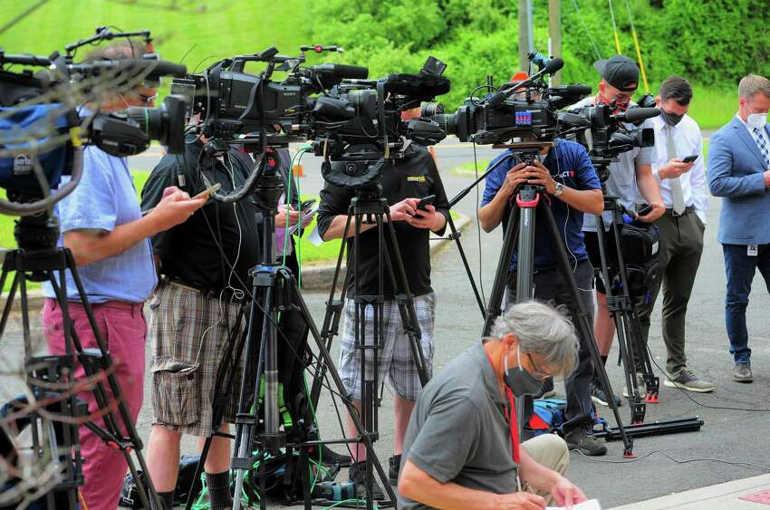 A press conference on the arrest of suspect Peter Manfredonia is held at Connecticut State Police headquarters in Middletown, Conn., on Thursday May 28, 2020.