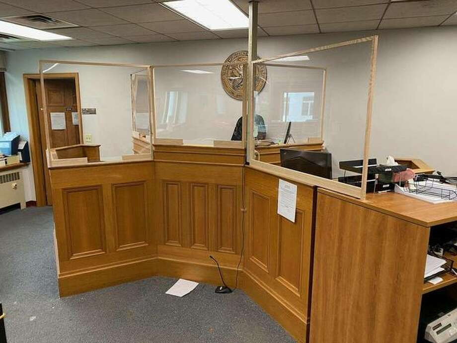 Madison County courtrooms have been outfitted with new virus protections, such as plexiglass shields, as the courts prepare to resume activity on June 1. Photo: Submitted