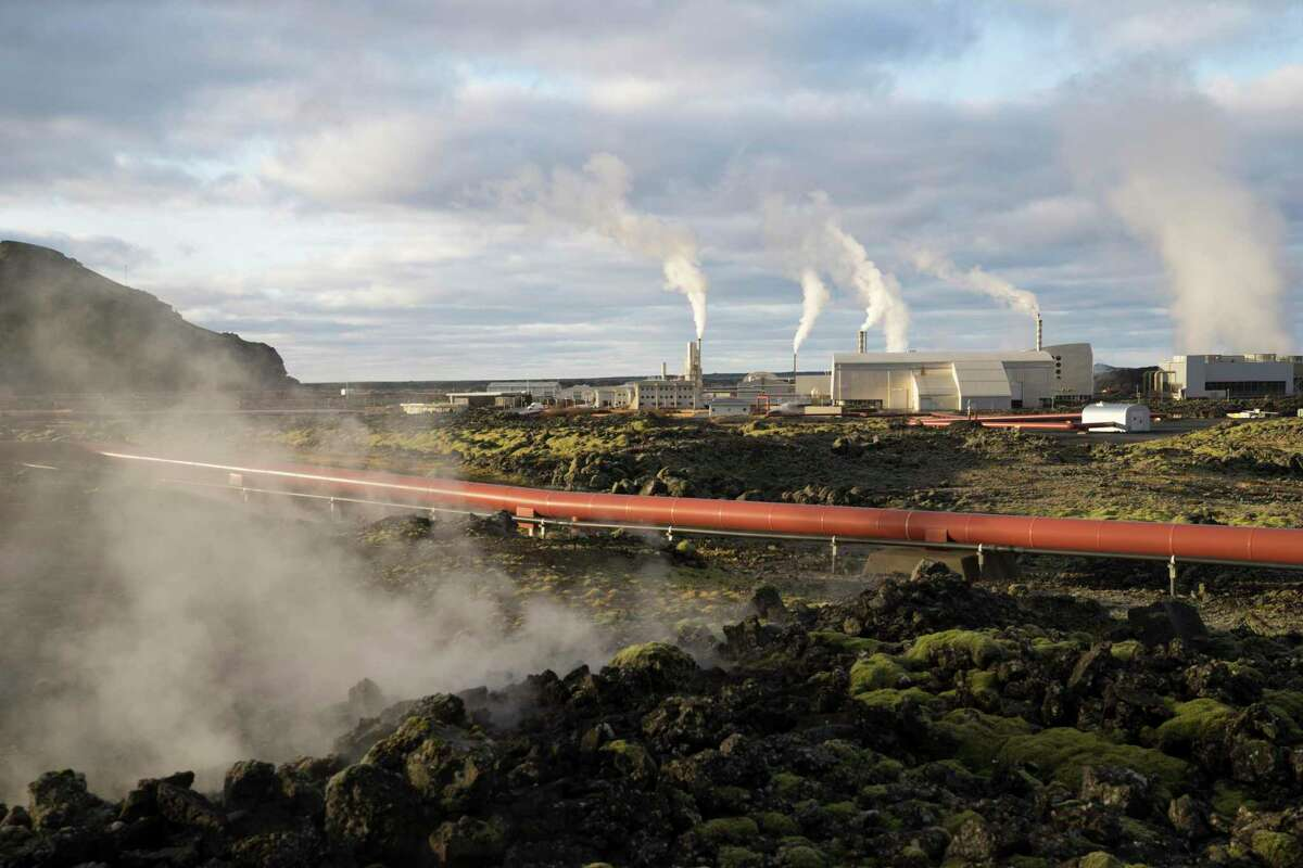 This photo taken Monday Oct. 28, 2019 shows the geothermal energy company HS Orka in Reykjanes, Iceland.