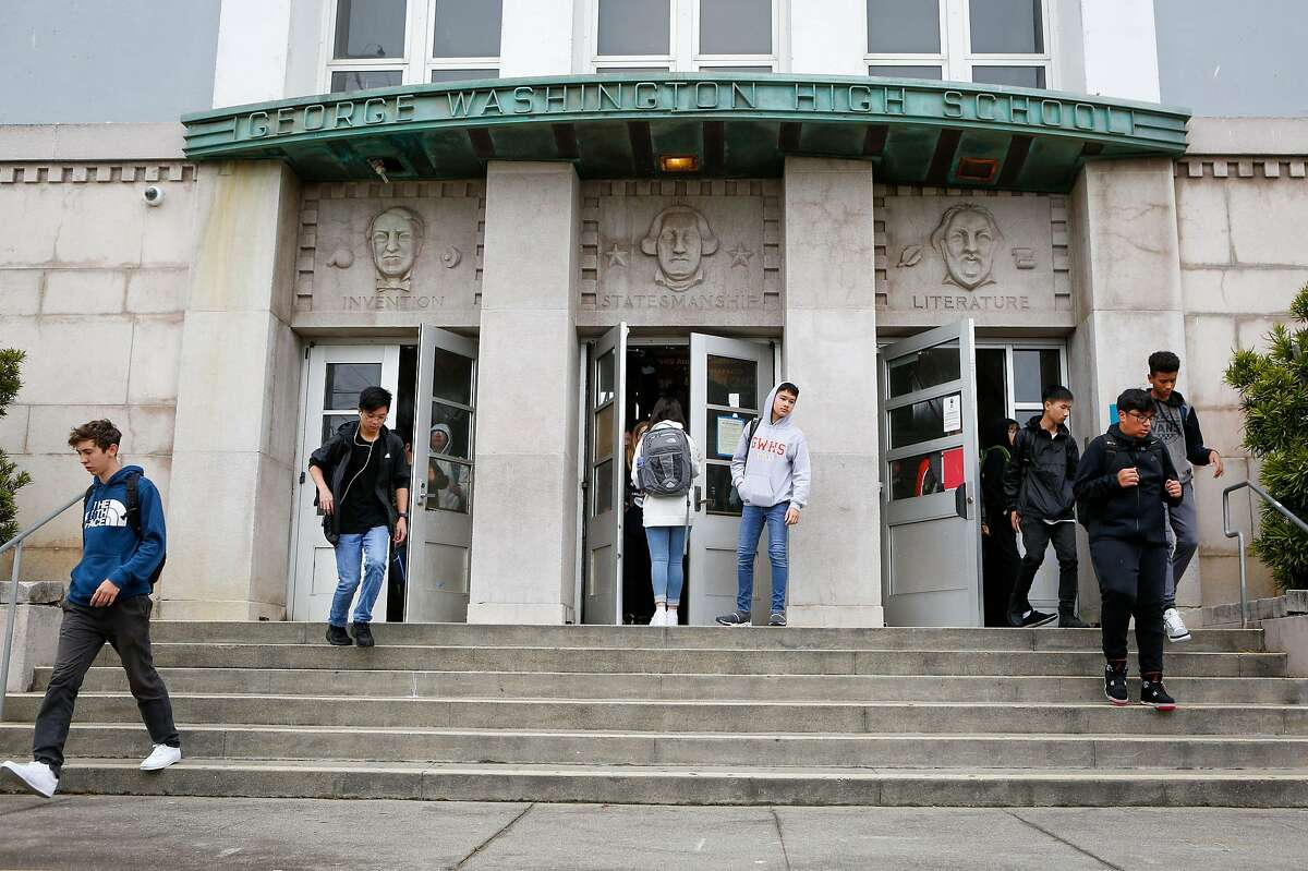 Students enter and exit George Washington High School on the first day of school on Monday, August 19, 2019 in San Francisco, Calif.