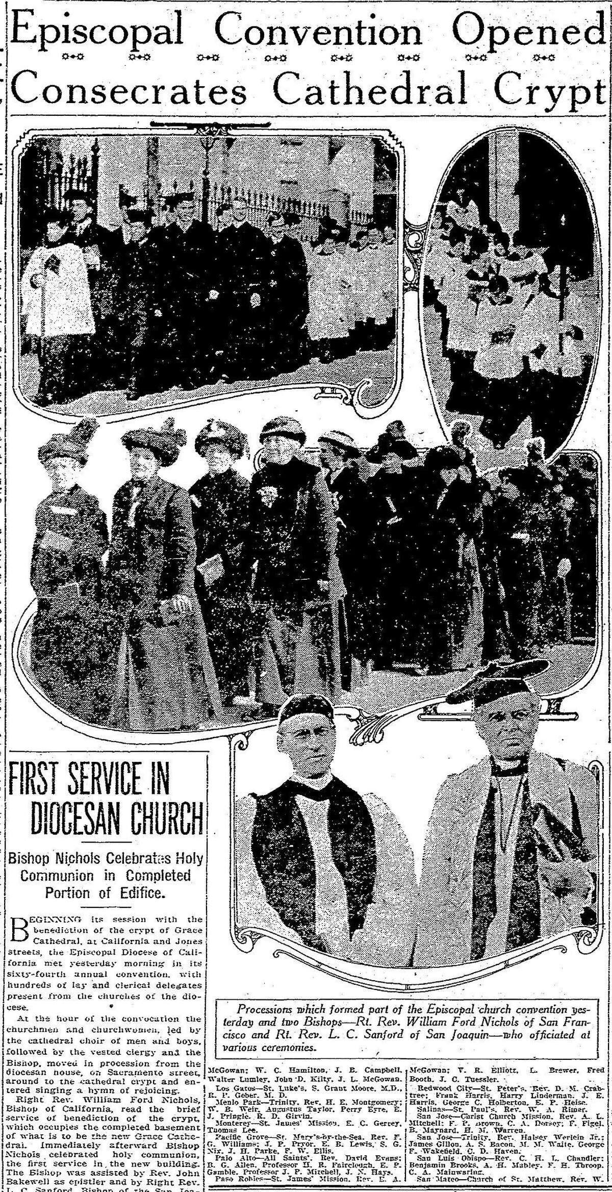 Service to celebrate the opening of the first stage of Grace Cathedral, January 27, 1912