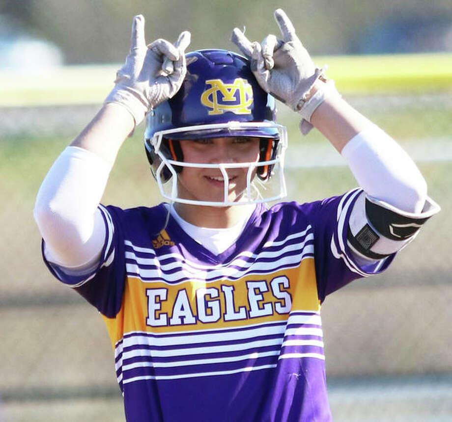 CM's Jenna Christeson signals teammates back in the dugout after hitting a double in a game last season in Bethalto. Photo: Greg Shashack / The Telegraph