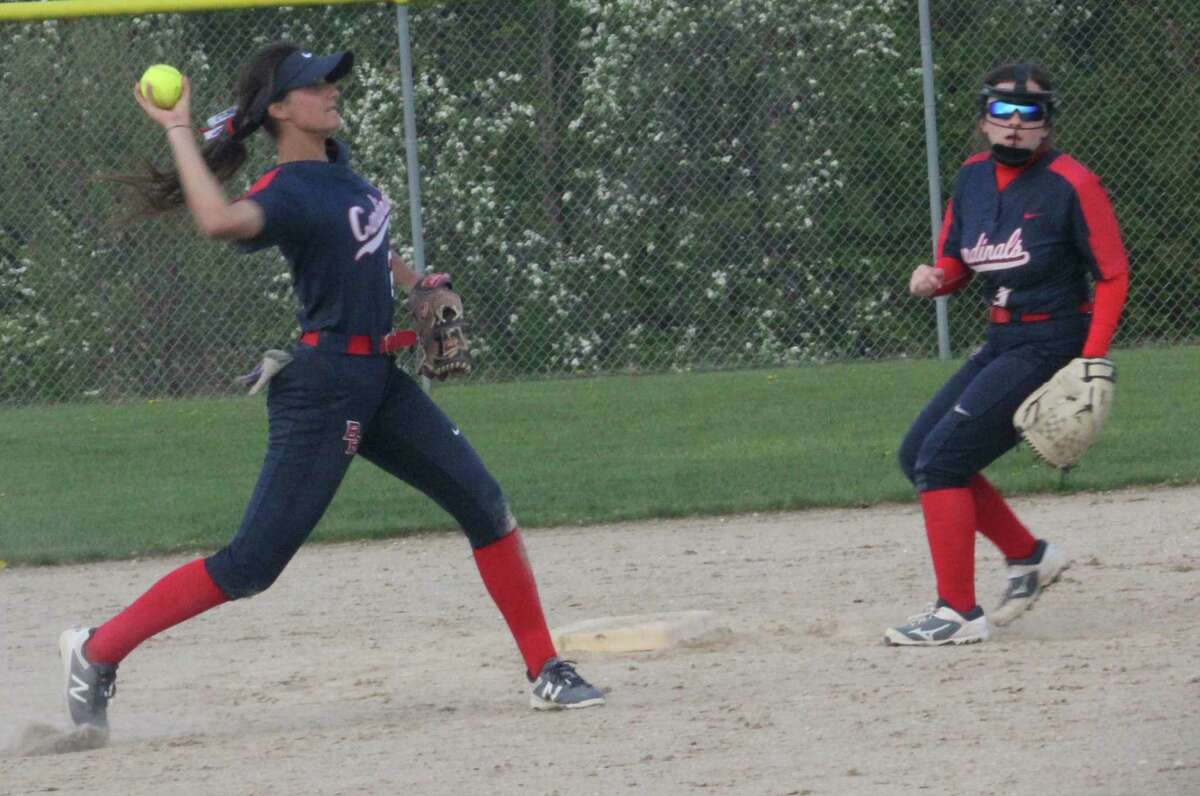 Big Rapids shortstop Emma Daum gets ready to throw the ball to first base in action last season. (Pioneer file photo)