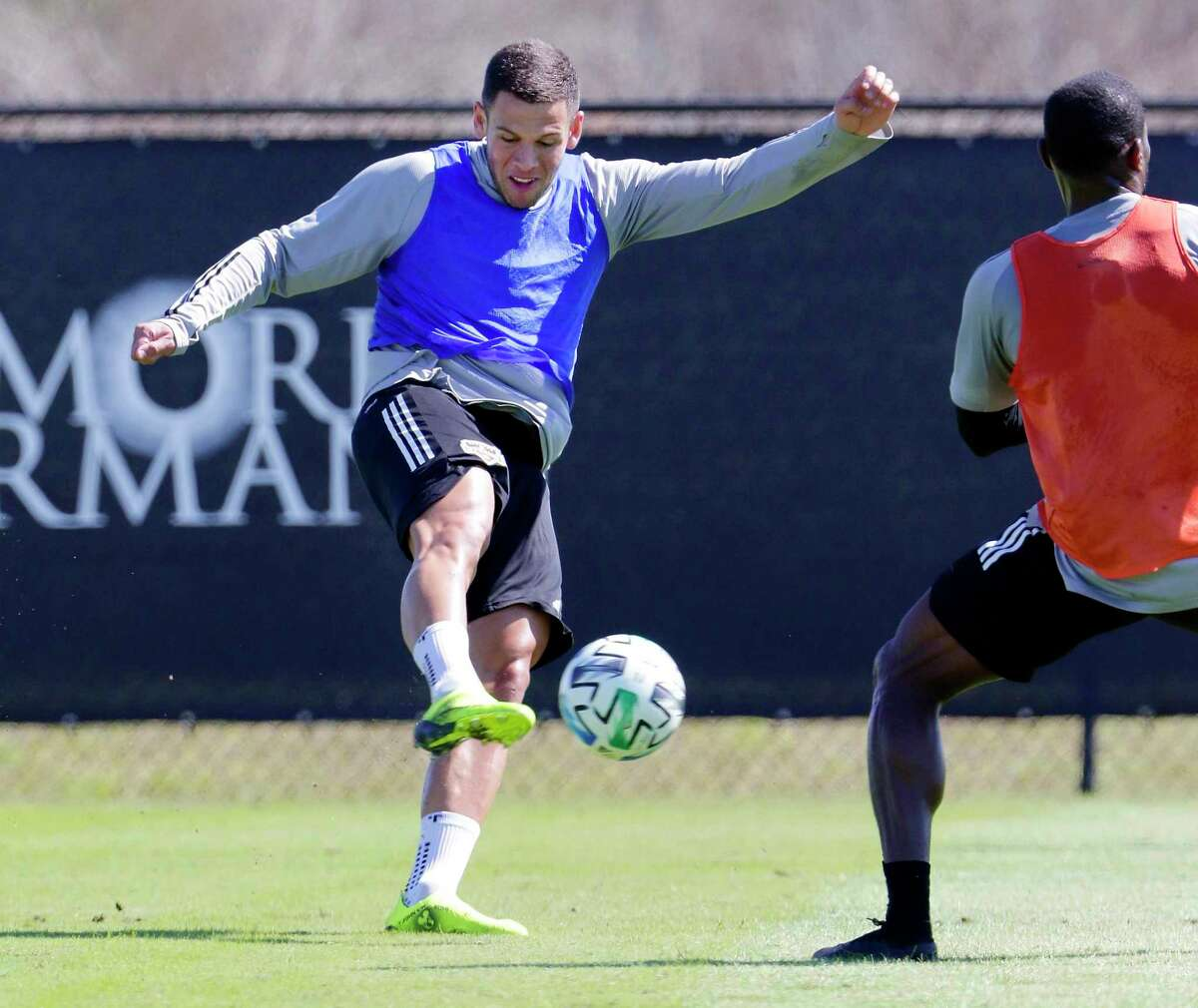 Dynamo players, like forward Christian Ramirez practicing earlier in the season, will be allowed expanded workouts as the MLS looks to return from the coronavirus.