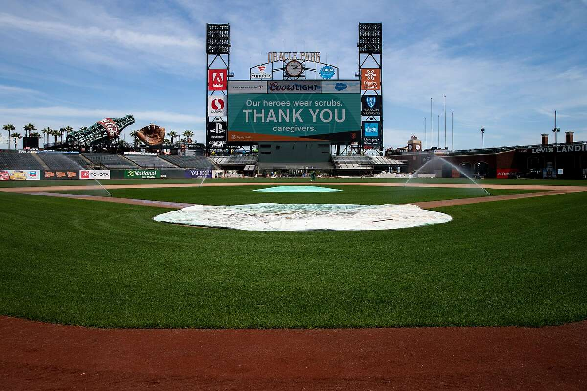 The view near home plate at Oracle Park on Friday, May 8, 2020, in San Francisco, Calif. Professional sports could see a rise in virtual reality offered to fans, amid the coronavirus pandemic. The San Francisco Giants would have hosted the Chicago White Sox today. The season was postponed, amid the coronavirus pandemic.