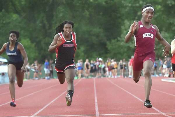 Terry Miller of Bulkeley High School, fourth from left, wins the girls 100-meter dash finals at the CIAC Class M outdoor championships in May 2018. Cromwell's Andraya Yearwood, third from left, placed second.