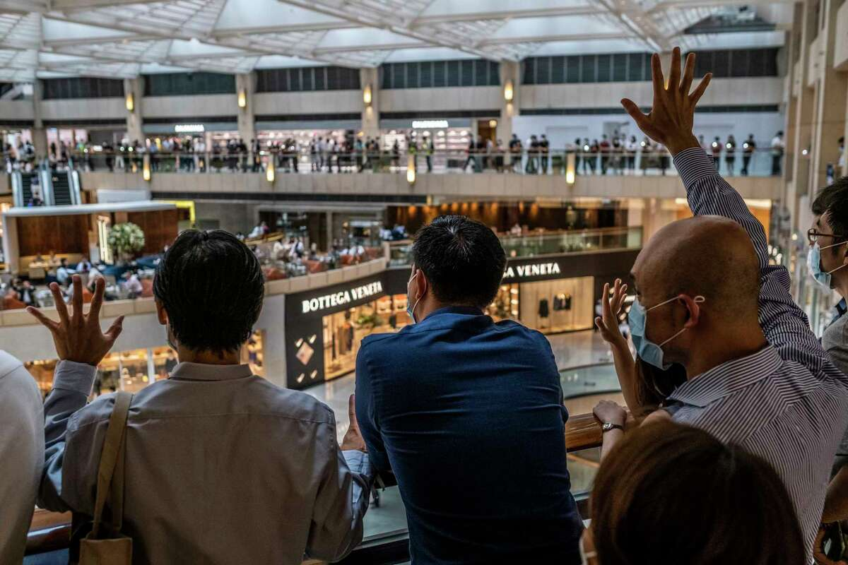 Antigovernment protesters at a luxury shopping mall in Hong Kong on Thursday, May 28, 2020. Hong Kong risks becoming collateral damage in the growing rivalry between China and the United States. (Lam Yik Fei/The New York Times)