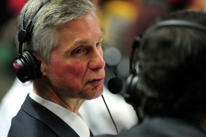 Radio announcer Bob Heussler calls the men's basketball game between Fairfield University and Quinnipiac Universityat the Webster Bank Arena in Bridgeport, Conn. on Thursday February 13, 2014. Heussler, who also works for WFAN in New York, has been calling Stags games since 1989, will be honored by Fairfield University for 25 years on the radio.
