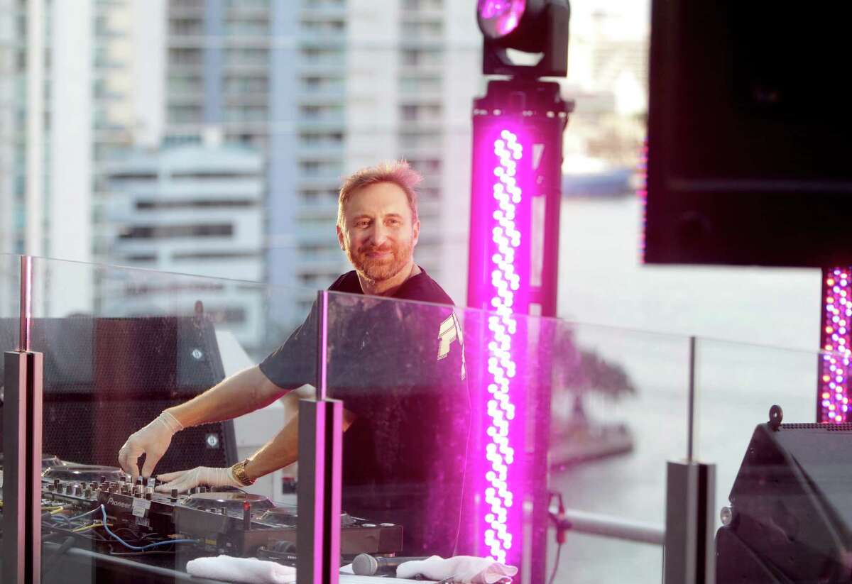 MIAMI, FLORIDA - APRIL 18: DJ David Guetta performs during his United at Home live stream in support of COVID-19 relief on April 18, 2020 in downtown Miami, Florida. (Photo by John Parra/Getty Images for The Media Nanny )