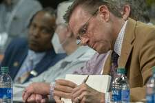 Mayor Patrick Payton takes notes 05/28/2020 evening during the Community Conversation with city leaders at the MLK Center. Tim Fischer/Reporter-Telegram
