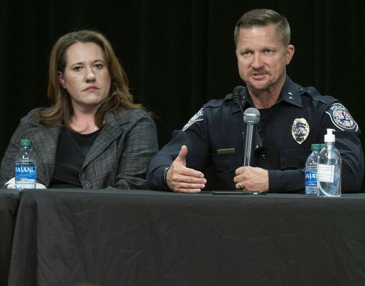 Police Chief Seth Herman answers questions as Midland DA Laura Nodolf and other listen 05/28/2020 evening during the Community Conversation with city leaders at the MLK Center. Tim Fischer/Reporter-Telegram