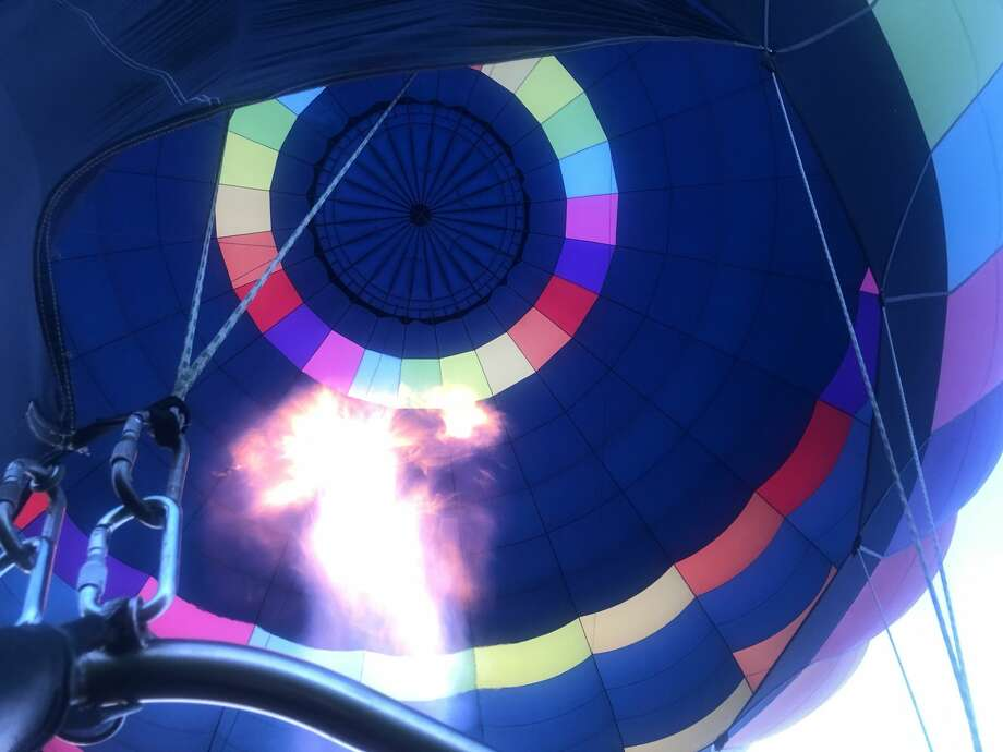 A hot air balloon fills with heat. Photo: Courtesy Seattle Ballooning