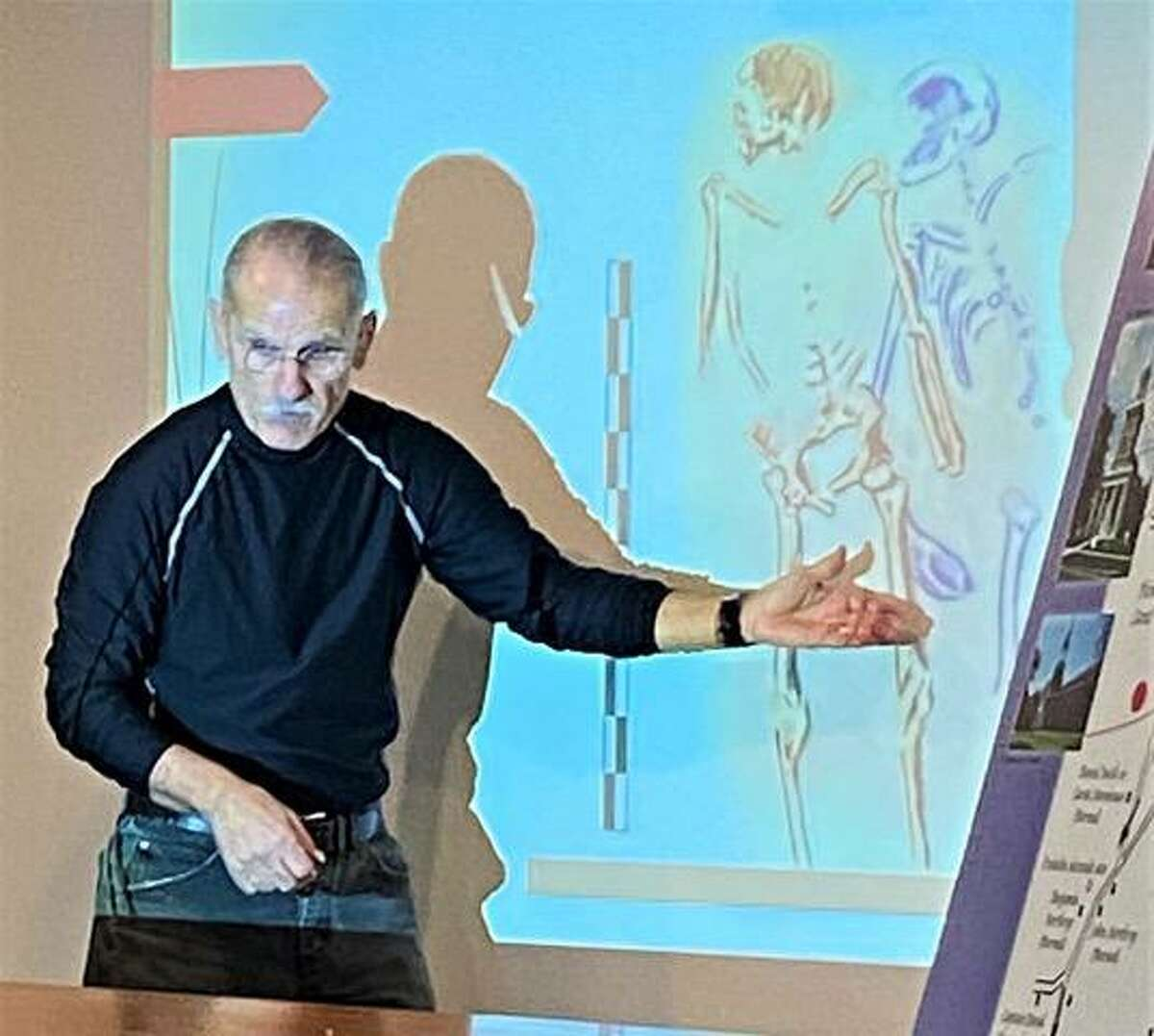 Nicholas Bellantoni, emeritus state archaeologist, discussed the skeletons linked to the Battle of Ridgefield at press conference last December.