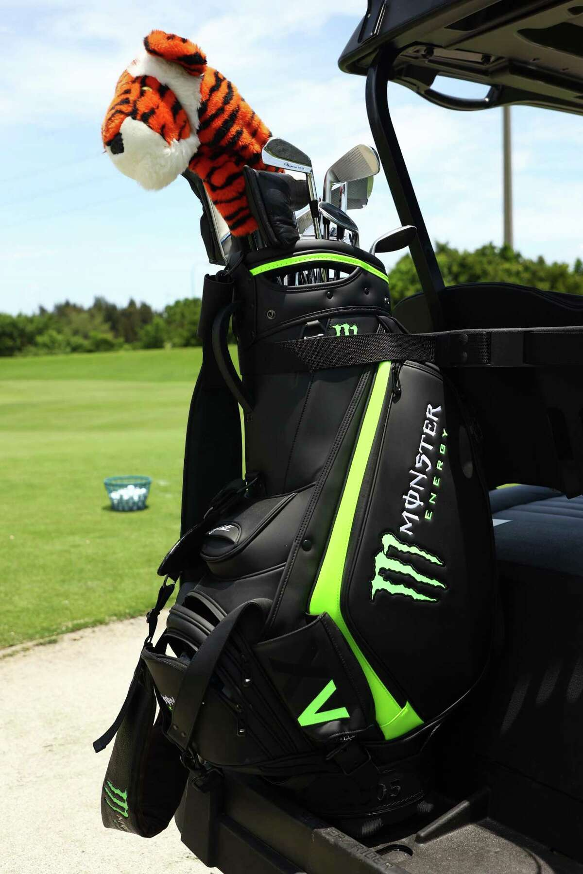 HOBE SOUND, FLORIDA - MAY 23: A detail of the bag of Tiger Woods during a practice round for The Match: Champions For Charity at Medalist Golf Club on May 23, 2020 in Hobe Sound, Florida. (Photo by Mike Ehrmann/Getty Images for The Match)