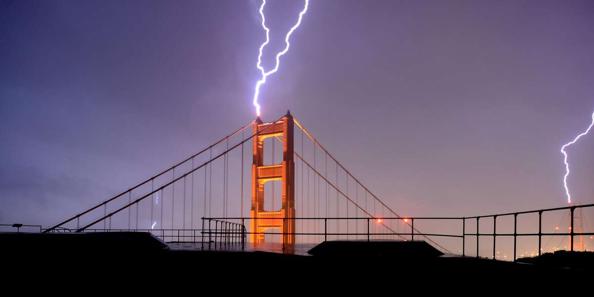 A double lightning strike on the Golden Gate Bridge shot Thursday, April 12, 2012, from the Marin Headlands.