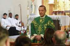 Bishop Frank Caggiano delivers a bilingual mass in Italian and English to honor Mother Cabrini, the first Italian-American canonized saint, at Sacred Heart Church in Stamford, Conn. on Sunday, November 17, 2019.