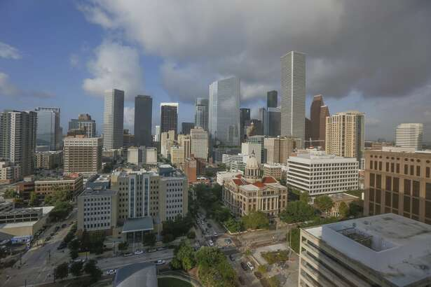 The Houston skyline photographed from the 16th floor of the Harris County Criminal Justice Center Wednesday, Aug. 28, 2019, in Houston.