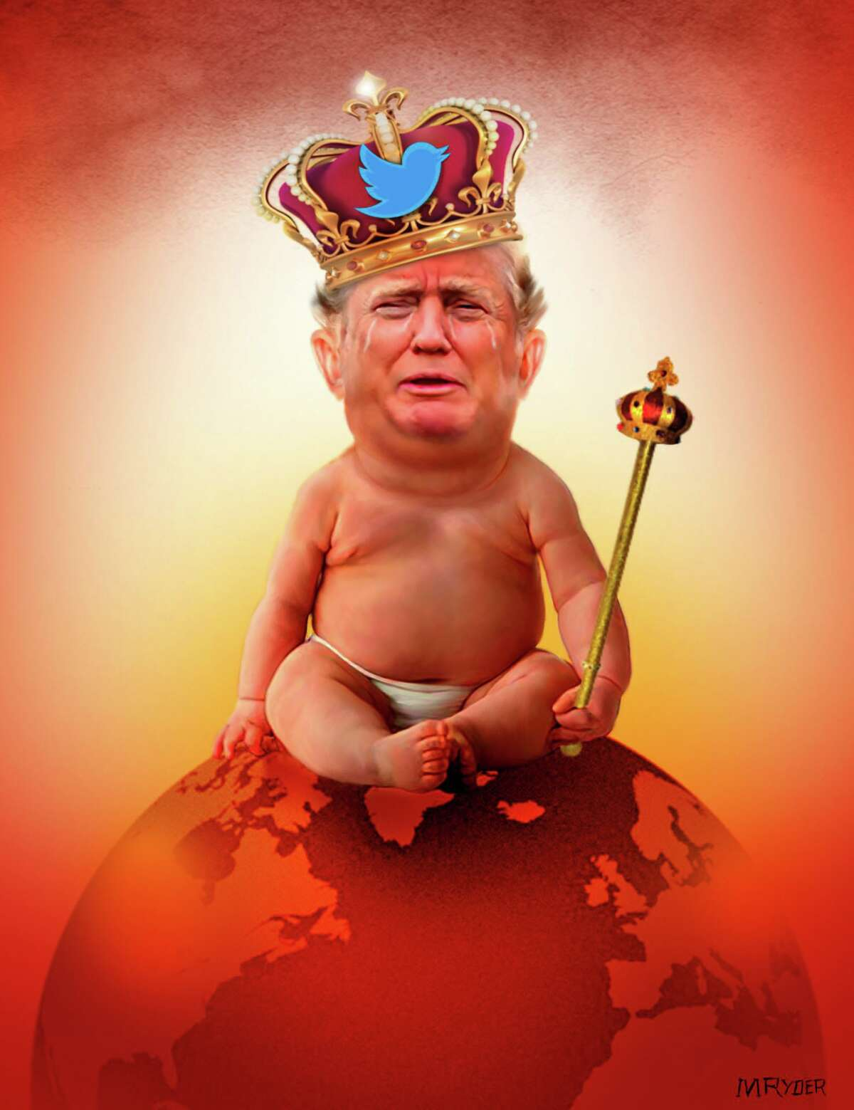 M. Ryder illustration on Donald Trump's Twitter rants