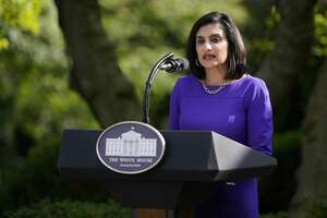 Administrator of the Centers for Medicare and Medicaid Services Seema Verma speaks at an event on protecting seniors with diabetes in the Rose Garden White House, Tuesday, May 26, 2020, in Washington. (AP Photo/Evan Vucci)