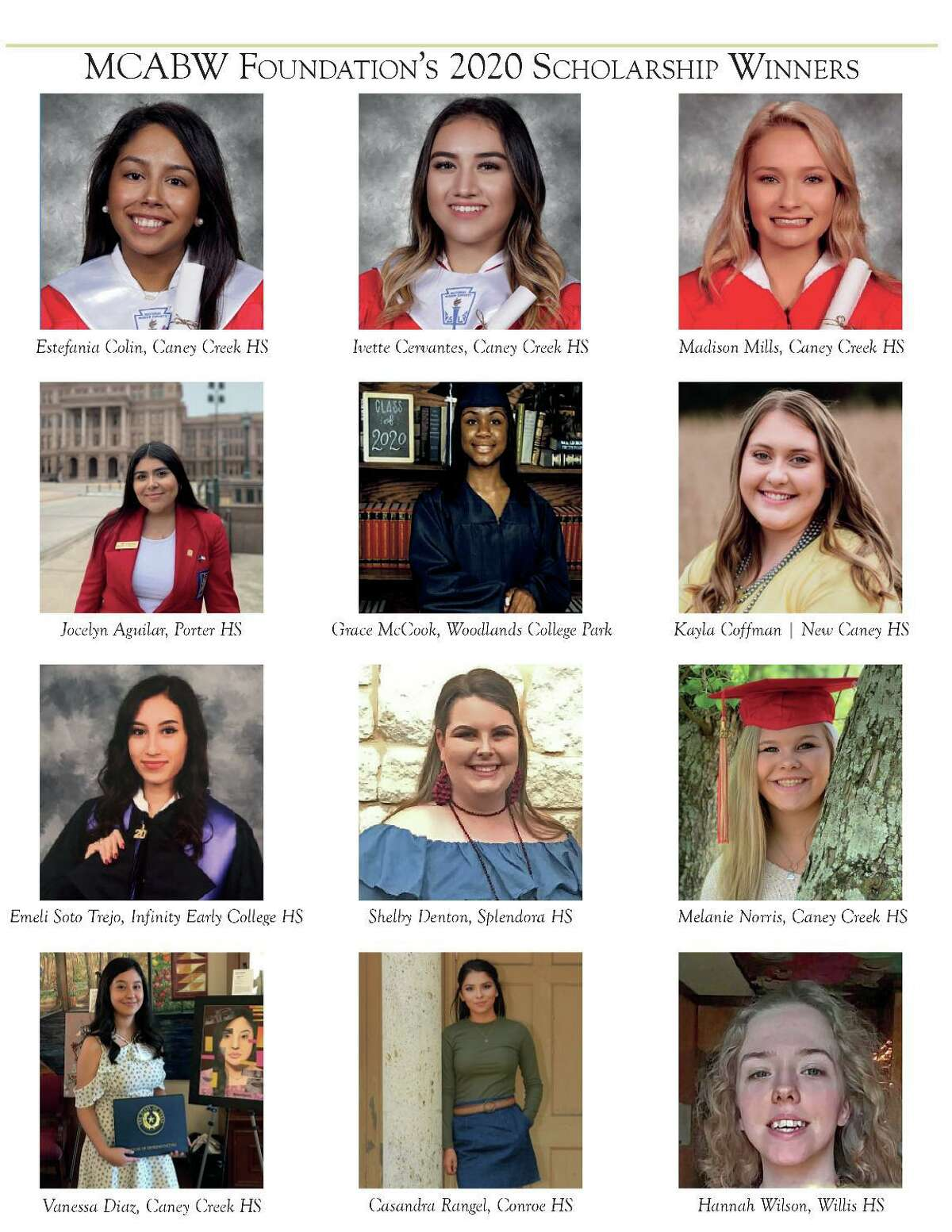 The Montgomery County Area Business Women organization recently awarded 12 scholarships to graduating seniors from across Montgomery County.