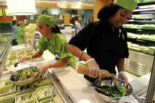 """A file photo of a """"made-to-order"""" salad station at Bridgeport Hospital's cafeteria in Bridgeport, Conn."""